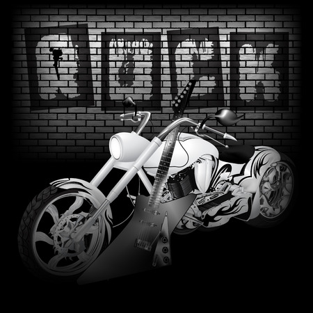 aligned: Vector illustration of motorbike and electric guitar on the background of a brick wall with the word rock. Image in black and white, perfectly aligned with any image on a black background, there is a place for text or image.