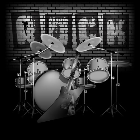room for text: Vector illustration of drum set with electric guitar rock on a background of a brick wall in dark colors Black and white and color. You can use any image on a black background, there is room for text.