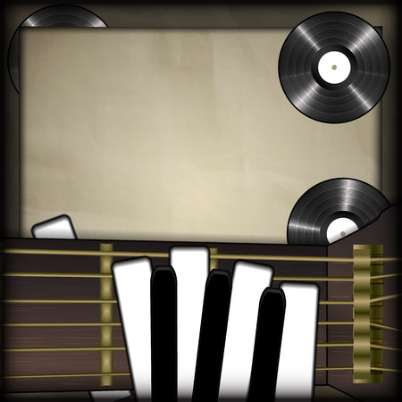 vinyl records: Vector illustration of musical background neck of the guitar and the piano keys as fingers on a background old paper vinyl records. There is room to place text or an image.