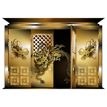 east gate: Vector illustration of a traditional east gate gold dragons opened door. Isolated object on a white background, can be used with any image or text.