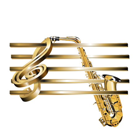 Vector illustration of a gold surround treble clef with an empty golden stave and saxophone. Isolated object can be used with any text or image.