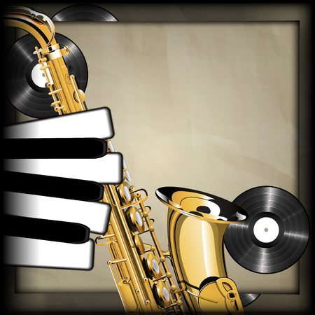 vinyl records: Vector illustration of musical background neck of the saxophone and the piano keys as fingers on a background old paper vinyl records. There is room to place text or an image.