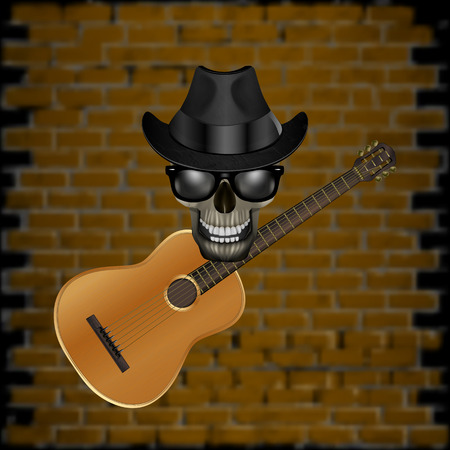 blackout: Vector illustration of a skull wearing a hat with a jazz guitar on the brick wall background. Blackout on the sides allow the use of any image on a black background.
