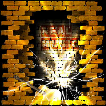 breakthrough: Vector illustration of an old brick wall with a breakthrough acoustic guitar and the words real music sparks in Moline. Can be used with any image or text on a black background. Illustration
