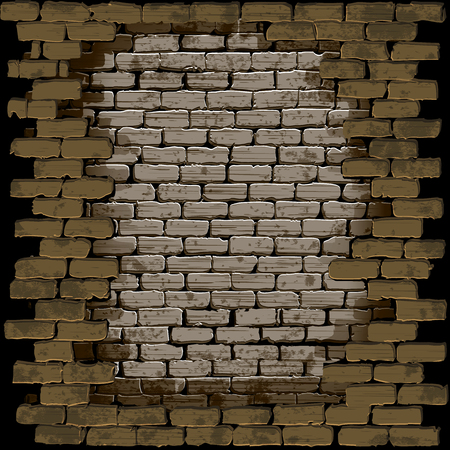 breach: Vector illustration of a brick wall with a breach in a frame on a dark background. Can be used with any image or text on a black background. Illustration