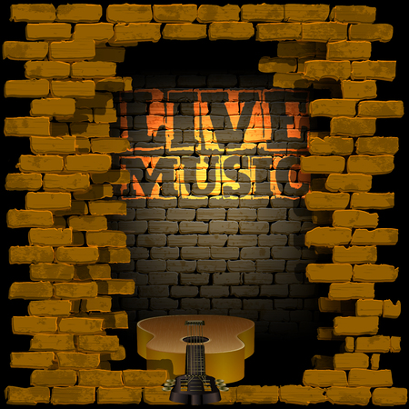 breakthrough: Vector illustration of an old brick wall with a breakthrough acoustic guitar and the words live music and light. Can be used with any image or text on a black background.
