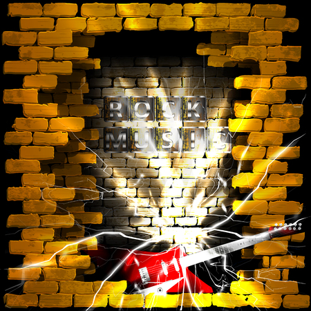 breakthrough: Vector illustration of an old brick wall with a breakthrough rock guitar and the words rock music sparks. Can be used with any image or text on a black background. Illustration