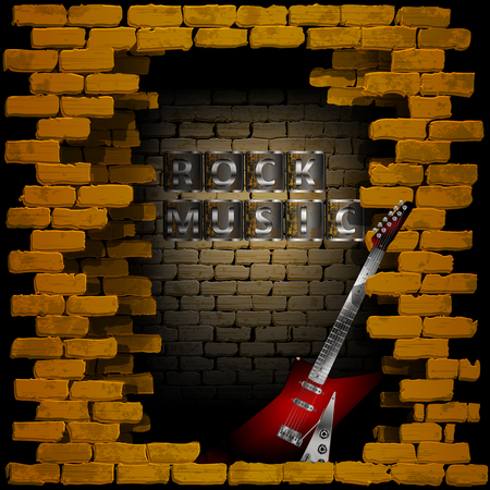 breakthrough: Vector illustration of an old brick wall with a breakthrough rock guitar and the words rock music. Can be used with any image or text on a black background. Illustration