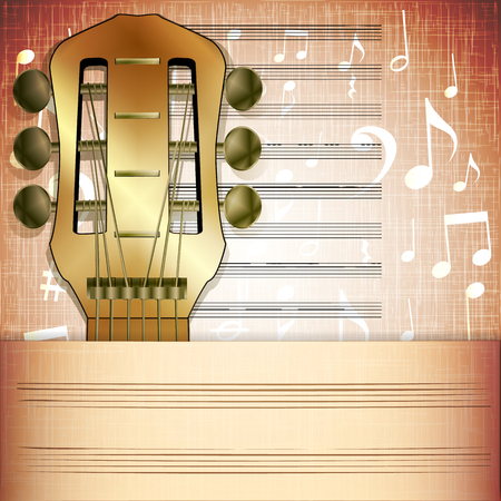 fingerboard: Vector illustration of musical background guitar fingerboard with Music sheet. Illustration