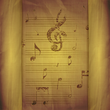 breaks: illustration of a music background with old sheet music note signs and key with breaks. Illustration
