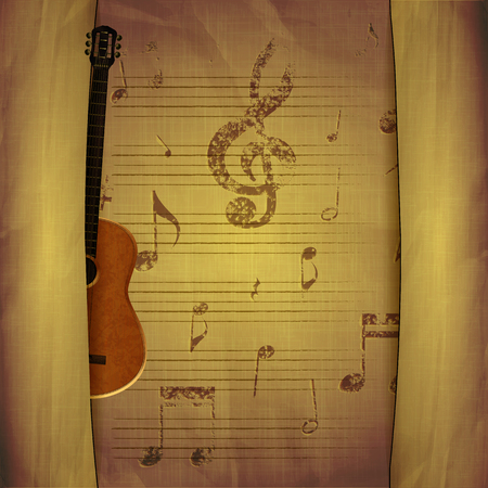 breaks: illustration of musical background acoustic guitar with old sheets and music note signs key with breaks. Illustration