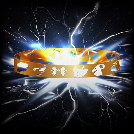virgo: anillo del vector con los signos del zodíaco en el espacio con el relámpago. Se puede utilizar cualquier texto o una imagen en un fondo negro.