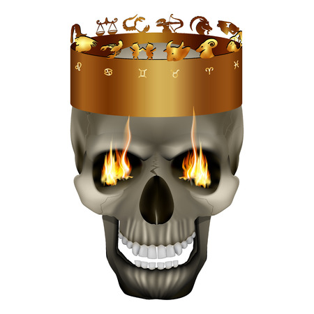 In the crown of the skull with signs of the zodiac. Isolated object on a white background, can be used with any image. Illustration