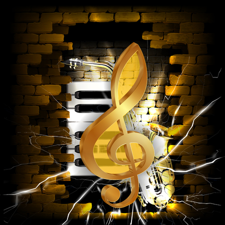 Vector illustration golden treble clef on a background of a brick wall and saxophone and piano keys.