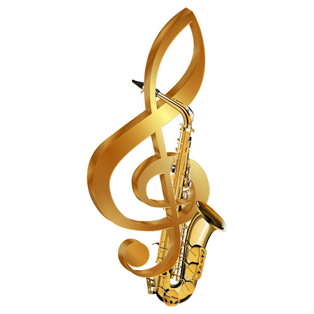 Vector illustration of a saxophone in a gold treble clef. Isolated objects on a white background, can be used with any text or image.