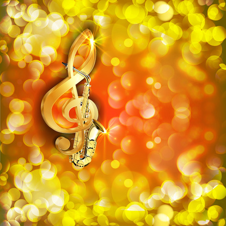 Vector illustration of musical background treble clef and a saxophone against a bright background with flares and sparks.