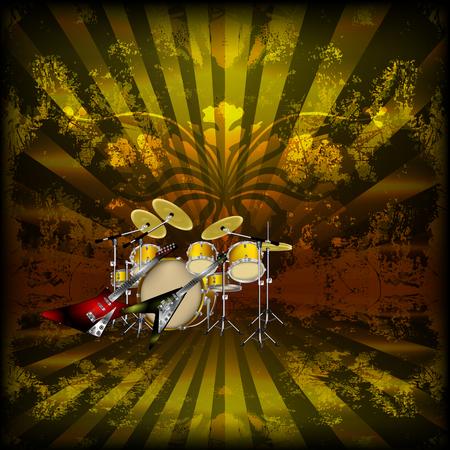 Ilustracja wektorowa jasnej muzyki w tle z rockowymi gitarami i perkusją. Możesz użyć dowolnego tekstu lub obrazu na czarnym tle.