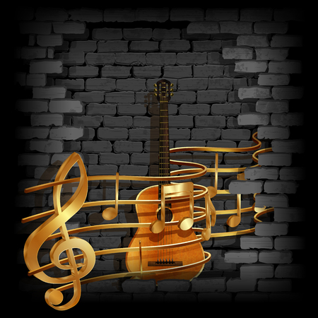 rupture: Vector illustration of gold musical notes volume and treble clef on the staff with an acoustic guitar in the rupture of the old brick wall. You can use any text and image on a black background. Illustration