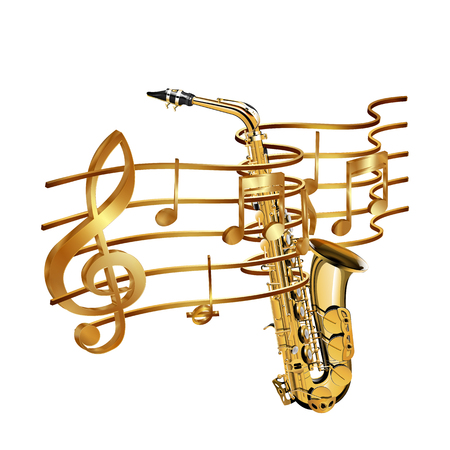 Vector illustration of gold musical notes volume and treble clef on the stave and saxophone. Isolated objects on a white background, can be used with any image or text.