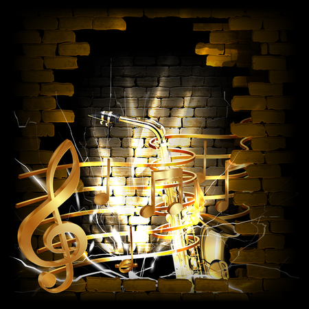 rupture: Vector illustration of gold musical notes volume and treble clef on the staff with a saxophone in the rupture of the old brick wall. You can use any text and image on a black background.
