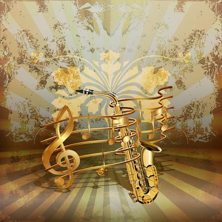Vektor-Illustration der Musik Hintergrund realistisch Saxophon von goldenen Noten gewebt.