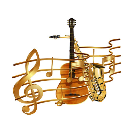 Vector illustration of gold musical notes volume and treble clef on the stave and saxophone and guitar. Isolated objects on a white background, can be used with any image or text. Illustration