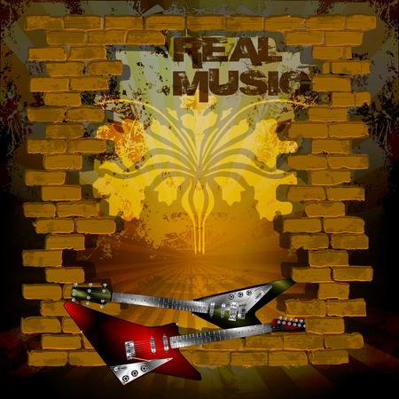 breakthrough: Vector illustration of an old brick wall with a breakthrough rock guitar and the words real music.
