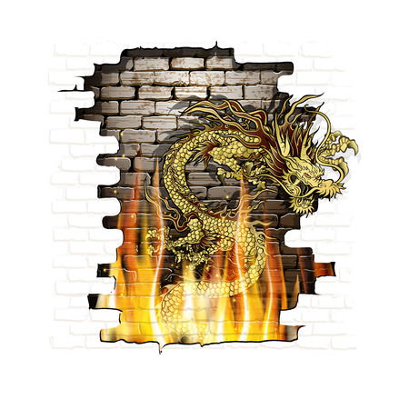 Vector illustration of golden traditional Chinese dragon with old brick background on fire. Isolated objects on a white background, can be used with any text or image.