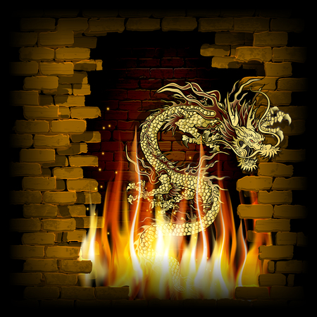 Vector illustration of golden traditional Chinese dragon with old brick background on fire. Illustration