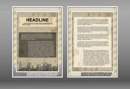 perforation: Brochure template with perforation and frame, cityscape with space for text or image, showing two sides of front and back.