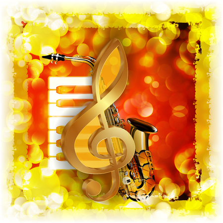 Vector illustration of musical background treble clef and a saxophone piano against a bright background with flares and sparks. Imagens - 60255274