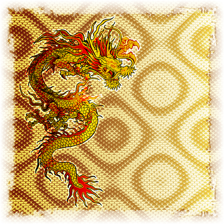 Gold background plate with a Chinese dragon, there is a place for your text or image. Illustration