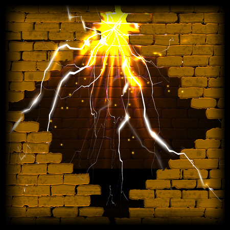 concrete block: Old brick wall with rift and flash with lightning and sparks. You can use any text or image on a black background.