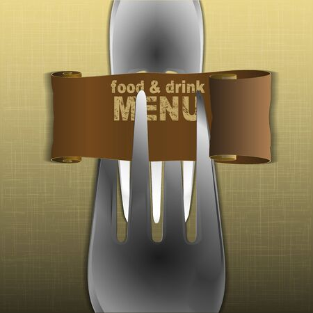 textural: Template restaurant menu with forks and a scroll on textural fabric background.