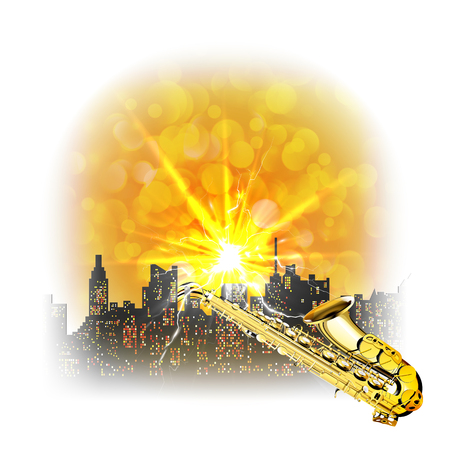 bleached: Urban landscape with a bright flash and a saxophone over the houses with glare. Image made with bleached borders and edges can be used with any text or image on a white background.