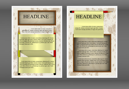 Template brochure pencils and paper frame. Showing two sides front and back.