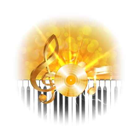 bleached: Golden musical vinyl plate with treble clef and piano keys, flash on background. The image is made without Borders in bleached edges, can be used with any image or text on a white background. Illustration