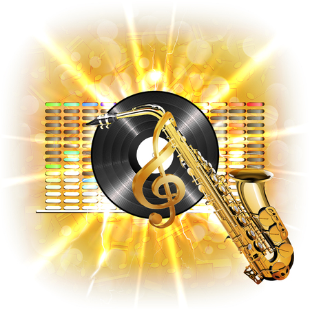 Musical background flash, treble clef, vinyl sax in the background clarified equalizer. Made without borders with whitened, can be used with any text or image on a white background. Illustration