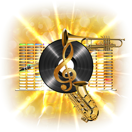 clarified: Musical background flash, treble clef, vinyl sax and trumpet in the background clarified equalizer. Made without borders with whitened, can be used with any text or image on a white background. Illustration