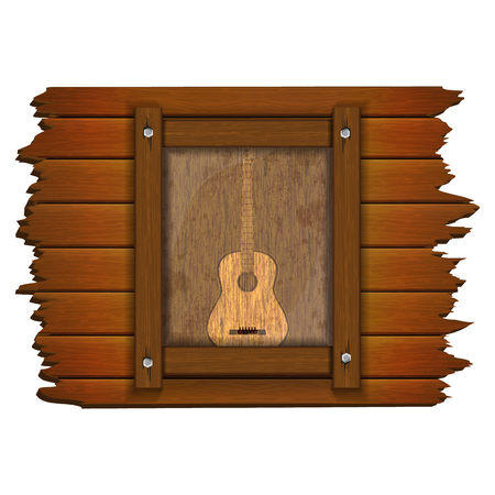 Image of a guitar on a wooden board in the frame. Isolated object can be used with any text or image.