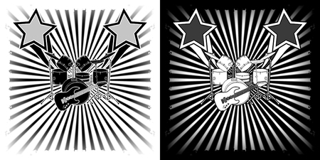 Musical background drum kit and a guitar black and white Graphics, shows two options.