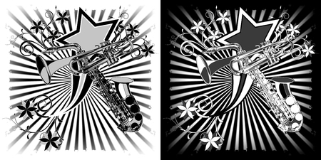 Sax and trumpet black and white Graphics with floral patterns. Illustration