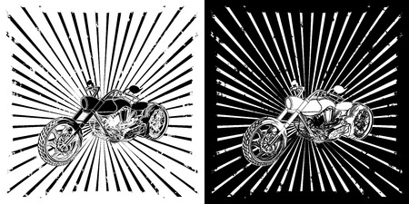 chopper: Chopper motorcycle on background with broken rays Illustration