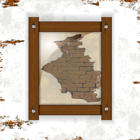 stonework: Old brick wall with plaster and wooden frame with glass. You can place any text or image.