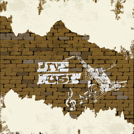flower of live: Free live music background brick wall with graffiti saxophone, treble clef with a flower pattern and a star with the plaster and cracks.