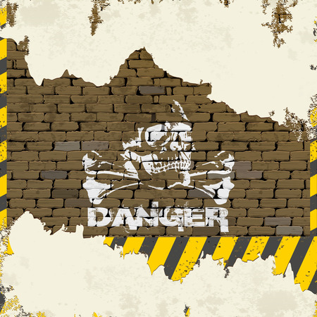 Danger sign on a brick wall with a skull and bones crumbling plaster. Illustration