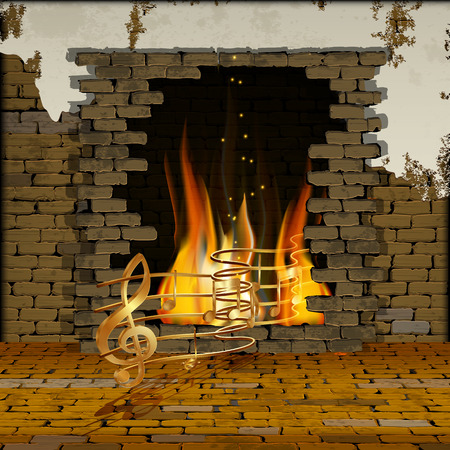background old brick wall with a fireplace with gold musical notes out of the fire. You can use text or image. Illustration