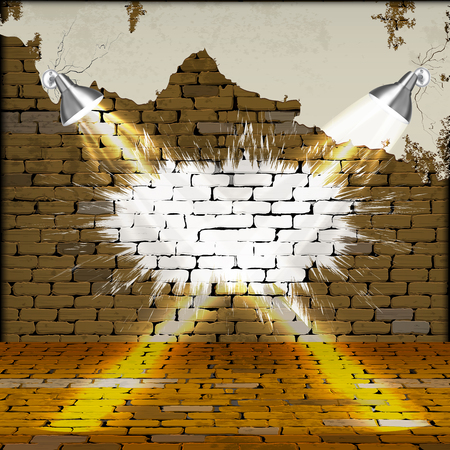 Old brick wall with plaster floors and glowing lamps in the future. You can use any text or image as a frame.