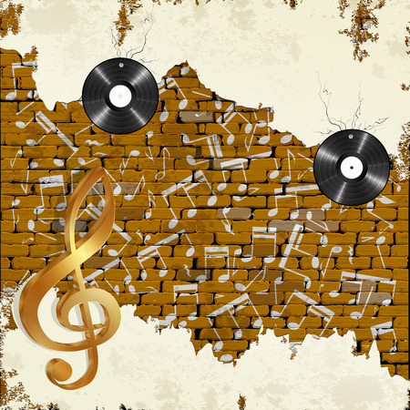 vinyl records: Old brick wall with vinyl records notes and treble clef.