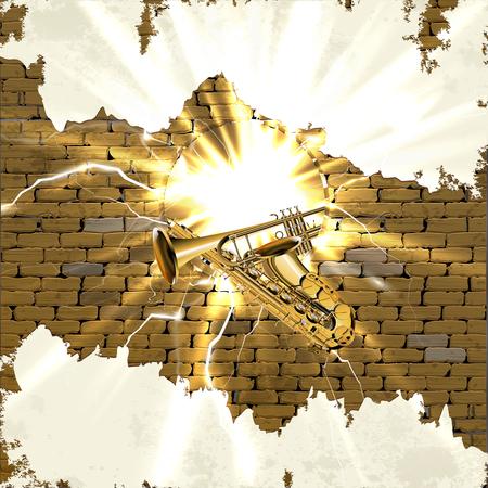 Sottofondo musicale sassofono e tromba nel vecchio muro di mattoni e un foro con un lampo e flash. C'è spazio per inserire il testo o un'immagine su intonaco bianco.
